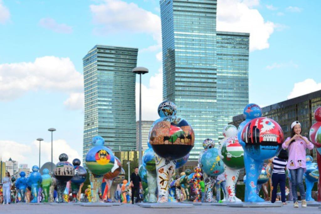 The city is decorated with installations of young Kazakhstan designers