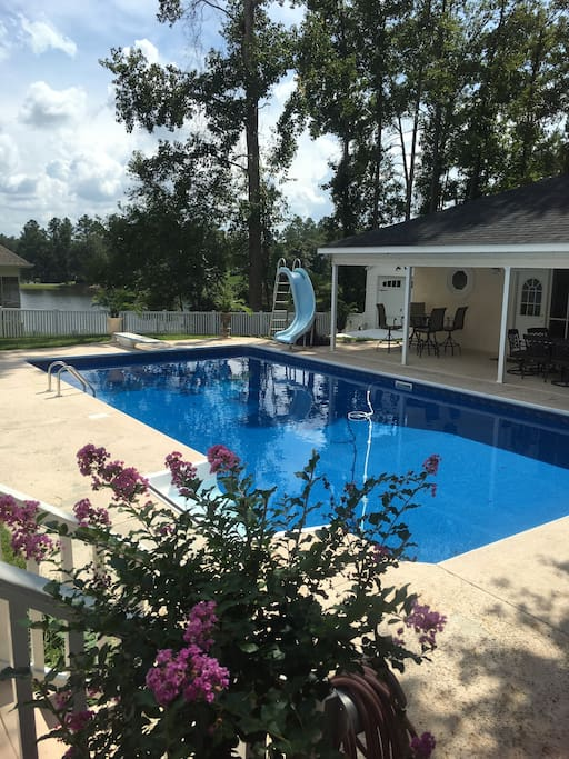 Swimming Pool and  pool house w/ pool table , kitchenette & full bath.