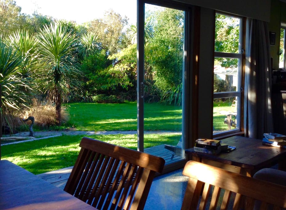 The native plantings in the back yard provide a peaceful setting for evening BBQs