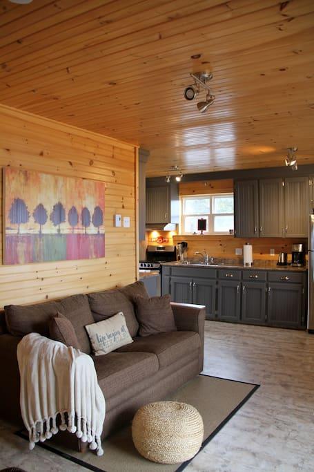Warm interior welcomes guests year around.