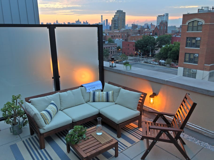 Private outside terrace with Manhattan views