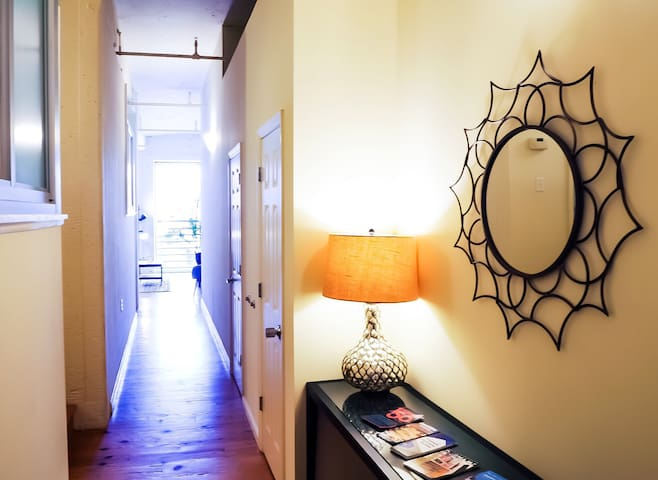 Entrance to loft- welcome table