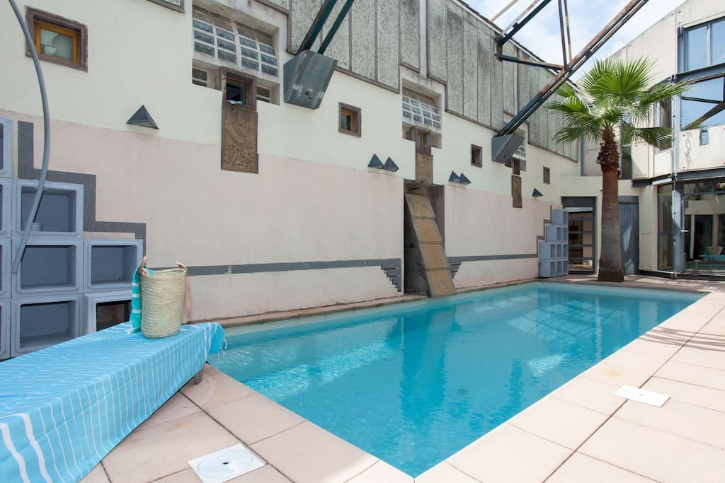 The pool which is behind the apartment. Accessed opposite the garage. Towels, beach bag, games and lilo provided to take to the beach too with the umbrella
