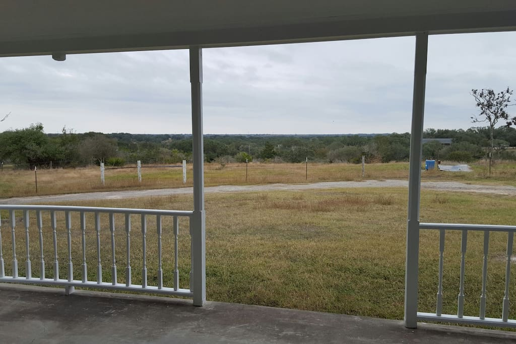 beautiful view from rocking chairs on porch