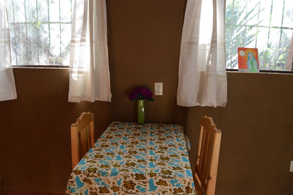 table and chairs for meals or work time