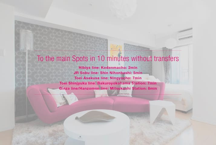 To the main Spots in 10 minutes without transfers - Chuo - Apartmen