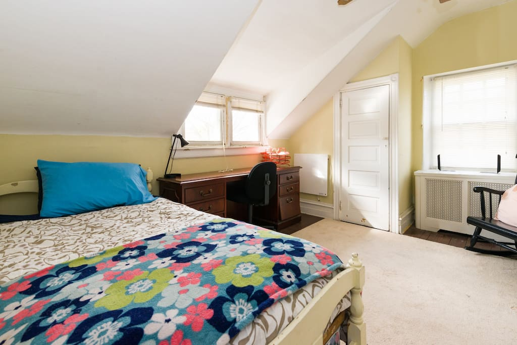 Warm, comfortable twin bed. Rocking chair.