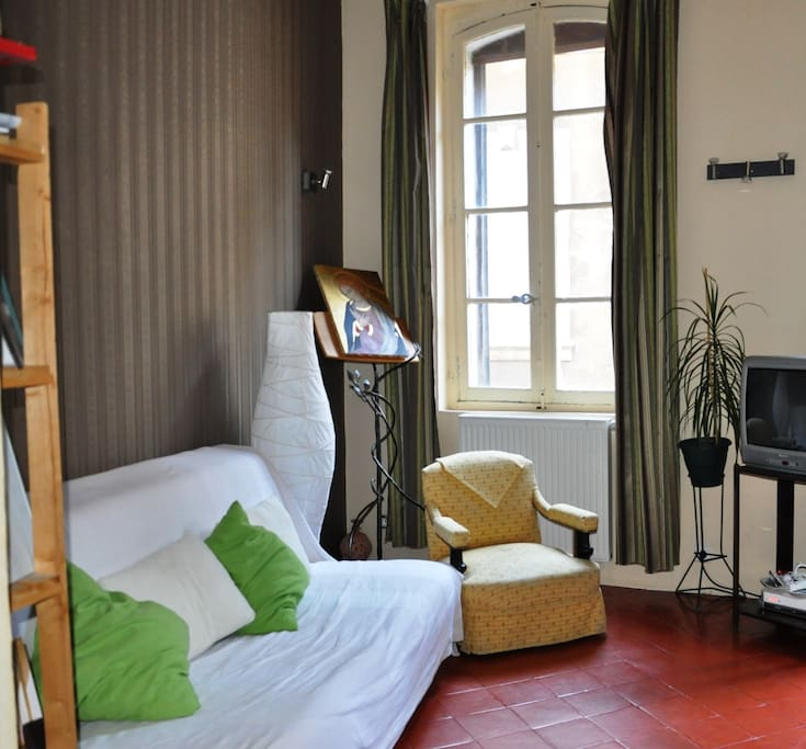 Séjour lumineux avec canapé lit