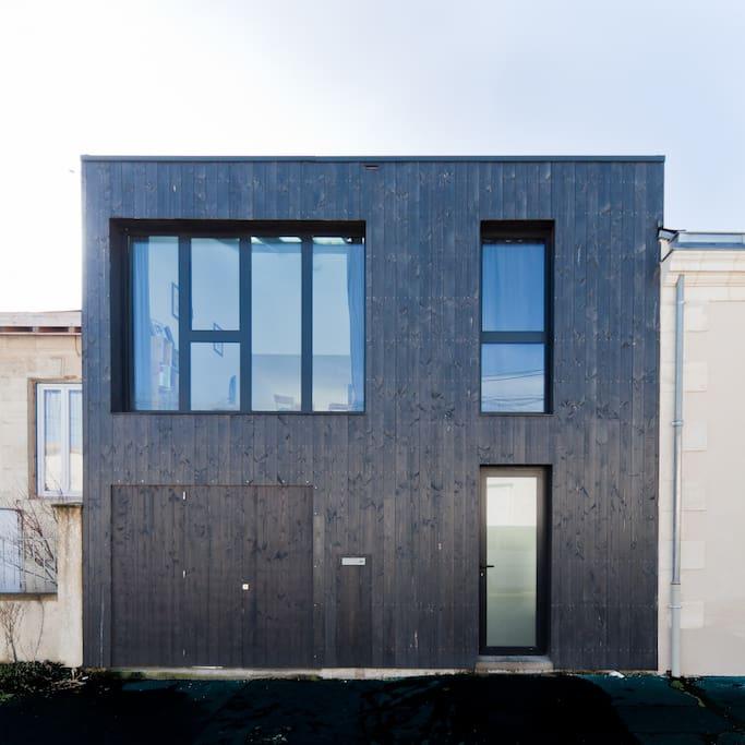Maison d'architecte bois, quartier d'échoppes, Bordeaux nord.