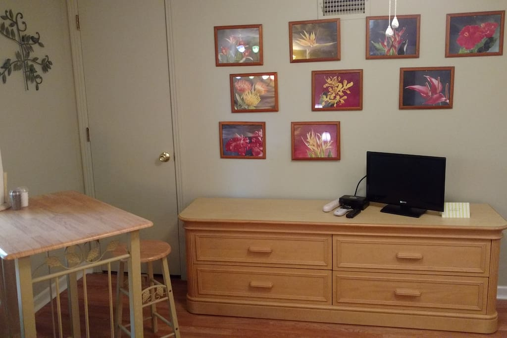 Bistro table, flat screen TV with DSL and Roku.  Also secure Wi-Fi, surge protected power strip and alarm.