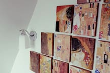 Bedroom detail: Klimt tiles from recycled Regency floorboards