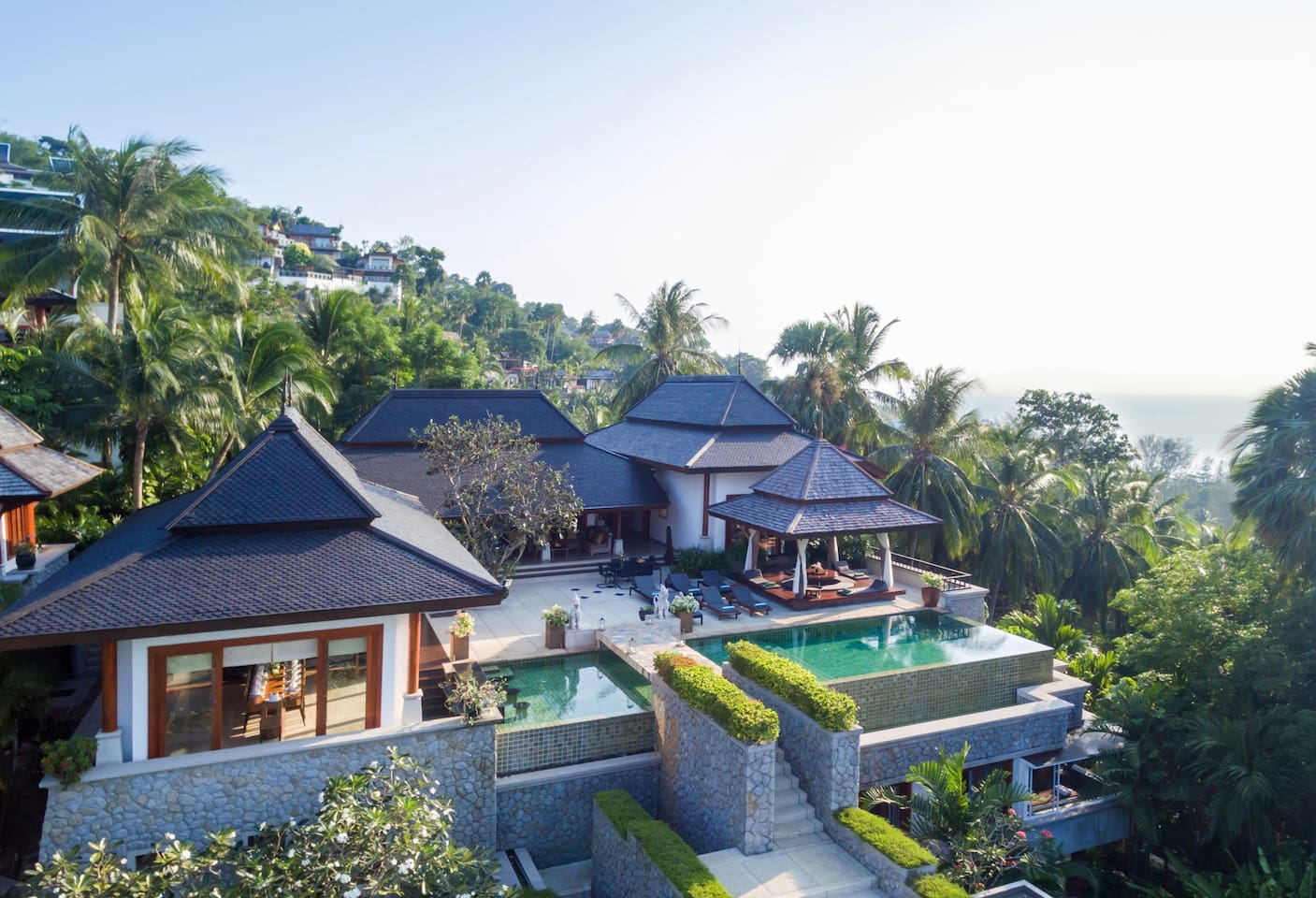 Aerial view of the villa on the hill right above Surin Beach