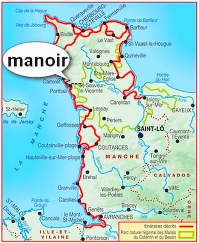 MANOIR EN NORMANDIE 4 KMS DE LA MER 10 PERS 5 CH