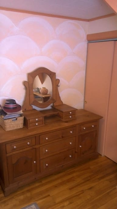 chest of drawers and closet for your use