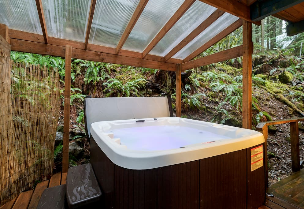Privacy!  Soak and relax sun, rain, or snow and enjoy the soothing sound of rushing water in the creek.
