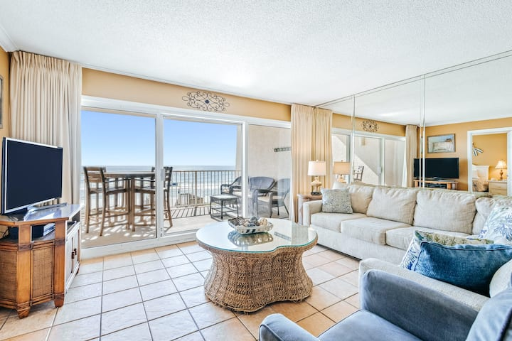 Second-floor beachfront condo w/Gulf views, shared outdoor pool, grills, and gym