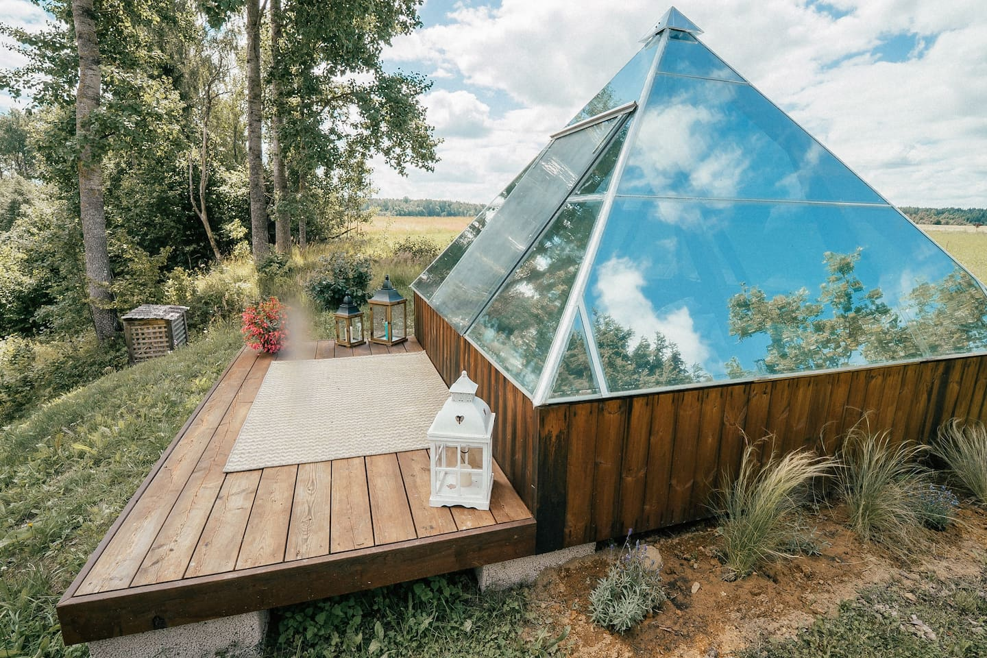 Our small glass pyramid on the shore of the Peetri river.