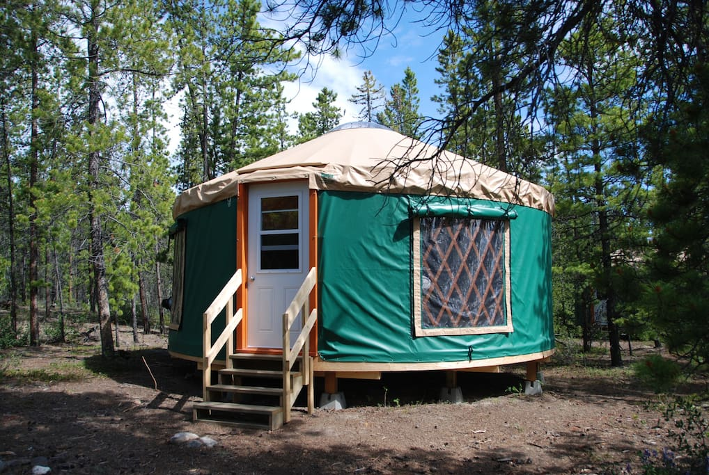 Outside photo of the 20 foot bedroom yurt