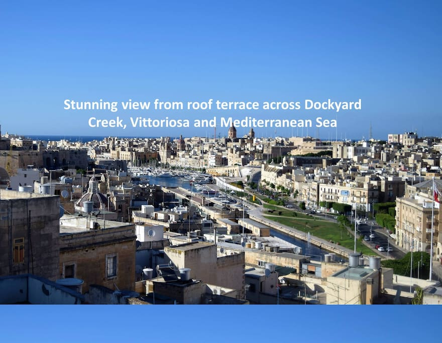 Stunning view from roof terrace across Dockyard Creek (part of Grand Harbour), Vittoriosa and Mediterranean Sea.