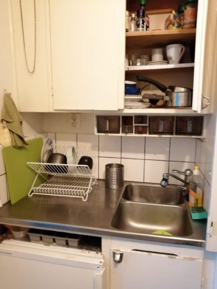 Stort rum med egen ingång, toalett och kokvrå.