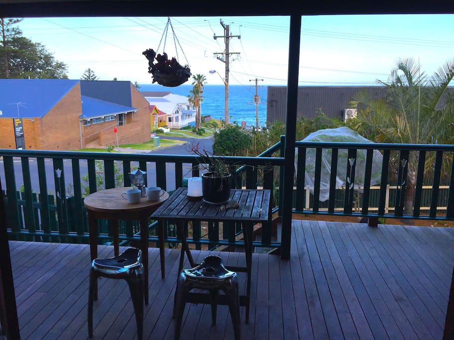 Morning coffee on the balcony with ocean views