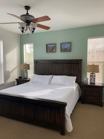 Master bedroom on main level off the kitchen.