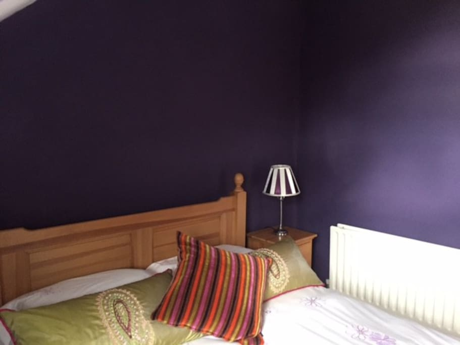 Purple Bedroom with double bed