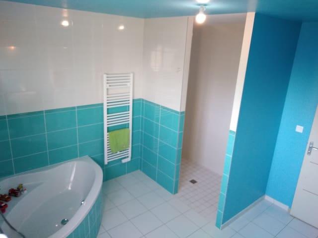 salle de bain douche et baignoire