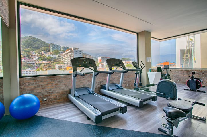 Gym with a view of the Vallarta mountains