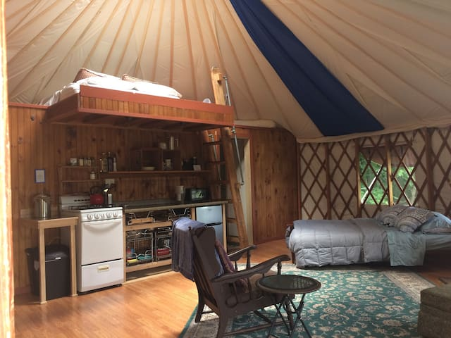 The yurt sleeps 4, 2 in the loft on a new all-natural mattress and 2 on the queen futon.  Here's the arrangement with both beds made.