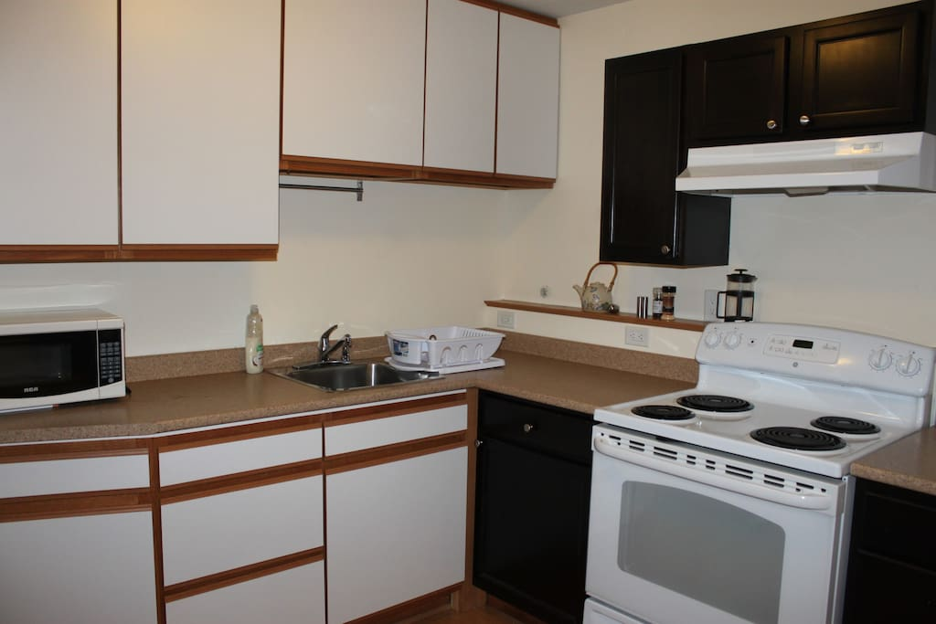 Kitchen is fully stocked with all the dishes and equipment you will need.