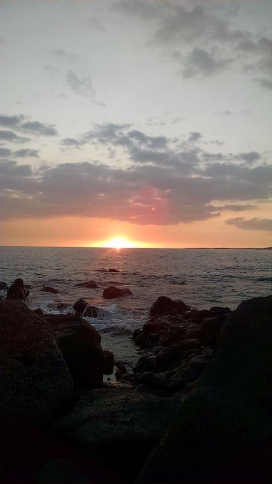 The rocks in front of our pool are one of the best places on the Big Island to see the amazing sunsets!