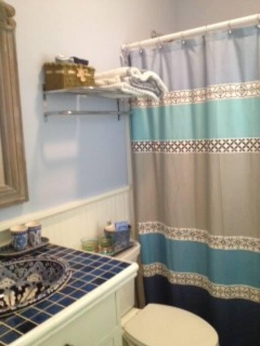 Private bath with full tub. Pristine clean