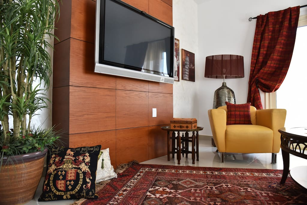 """Living area equipped with 50"""" LED flat screened TV, satellite dish...with European channel lineup. Many """"Oriental"""" rugs in this stylish property"""