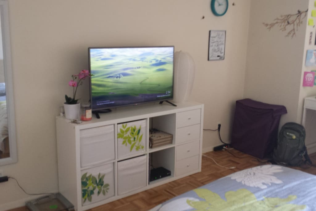 Large flat screen TV with basic cable.