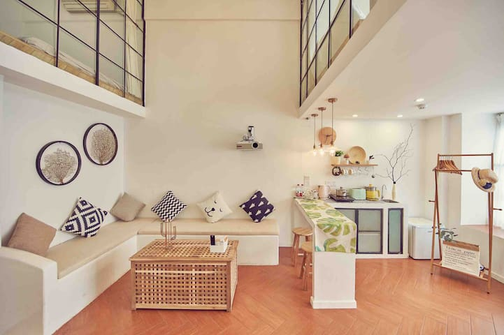 (长租议价)【小欢喜1】广州长隆 地铁复式loft公寓 野生动物园 欢乐世界 水上乐园 独家桑拿房