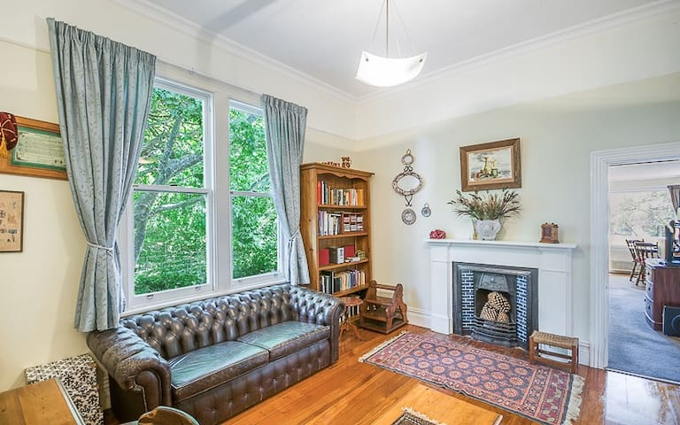 This is the lounge and it has a fold down couch bed which is not showing here - the fireplace is ornamental - the home has two heat pumps and a fire box- also furnished in keeping with the character of the house.