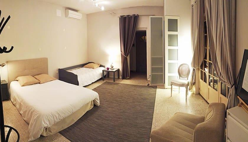 Grande chambre 1 lits double et 1 lit gigogne 2 places avec vue sur la terrasse privative