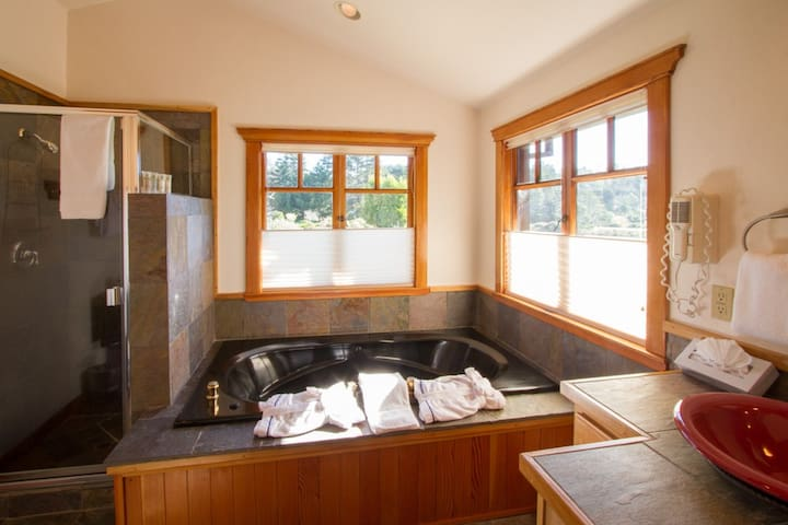 Bathroom showing the 2-person Jacuzzi hot-tub.