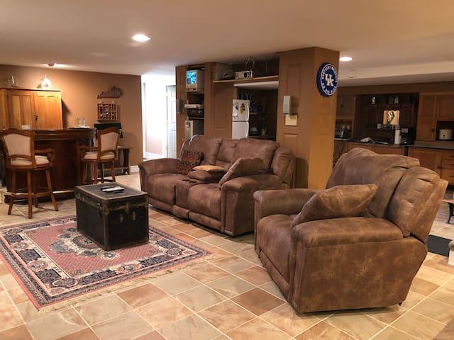 Comfortable basement living area.