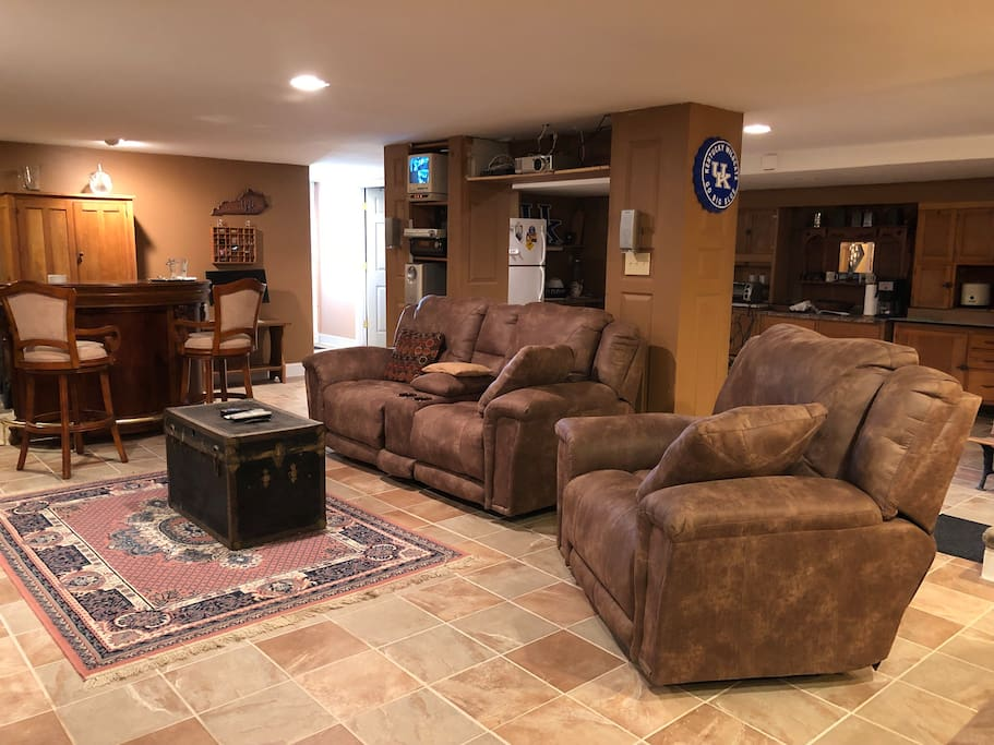 Comfortable basement living area.