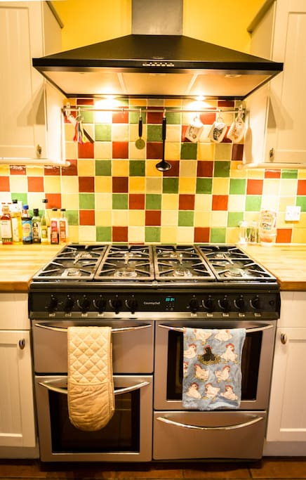 Eight ringed gas stove and double electric oven and grill.