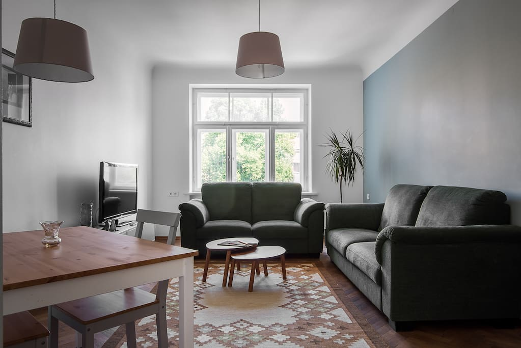 Living room with lots of daylight and two sofas for your relaxation