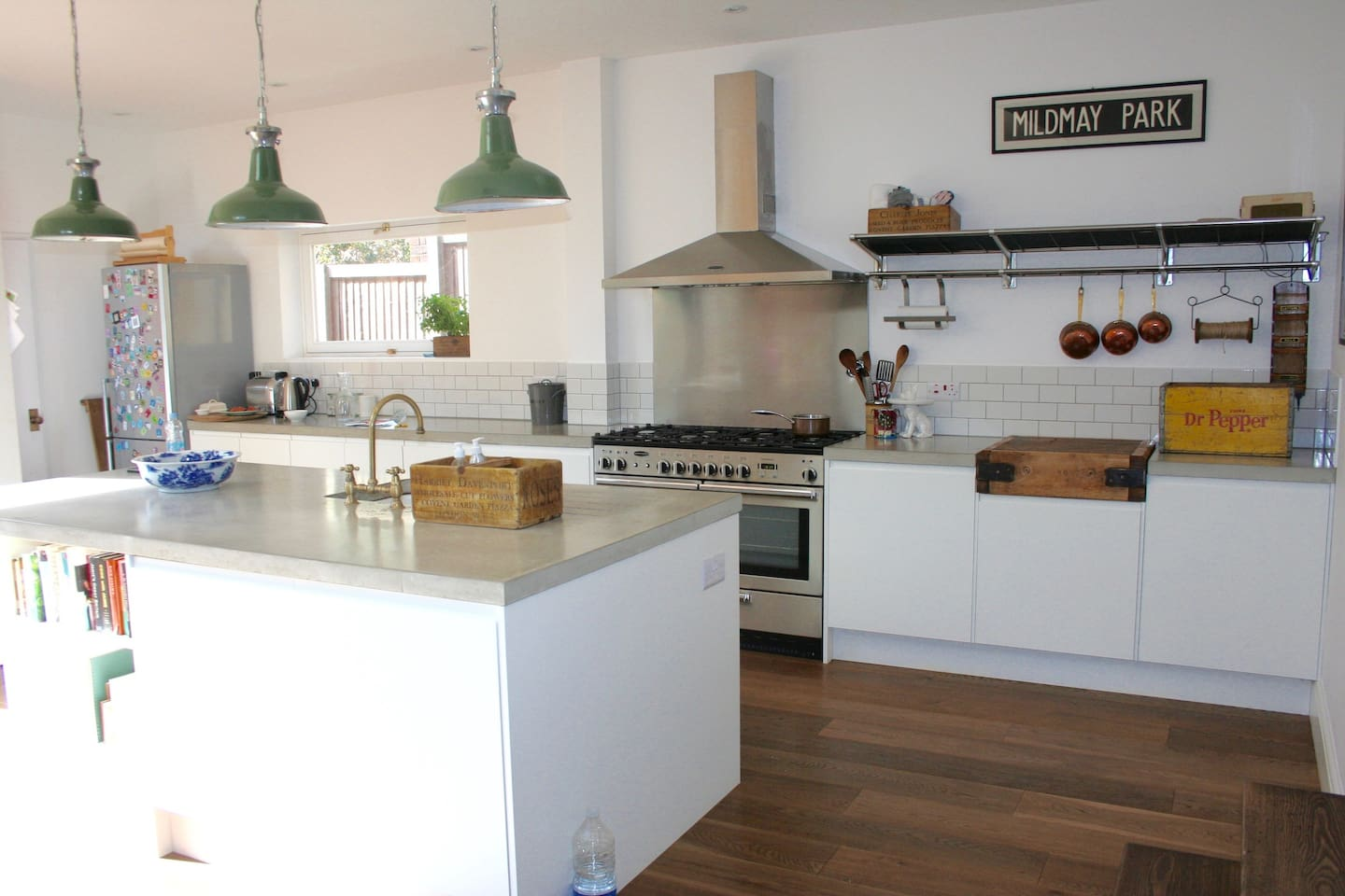Open plan Kitchen area with larder room towards back corner
