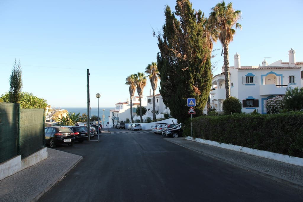 Heading down R. do Paraiso, the Apartment entrance is on the right, just past the tree in the photo.