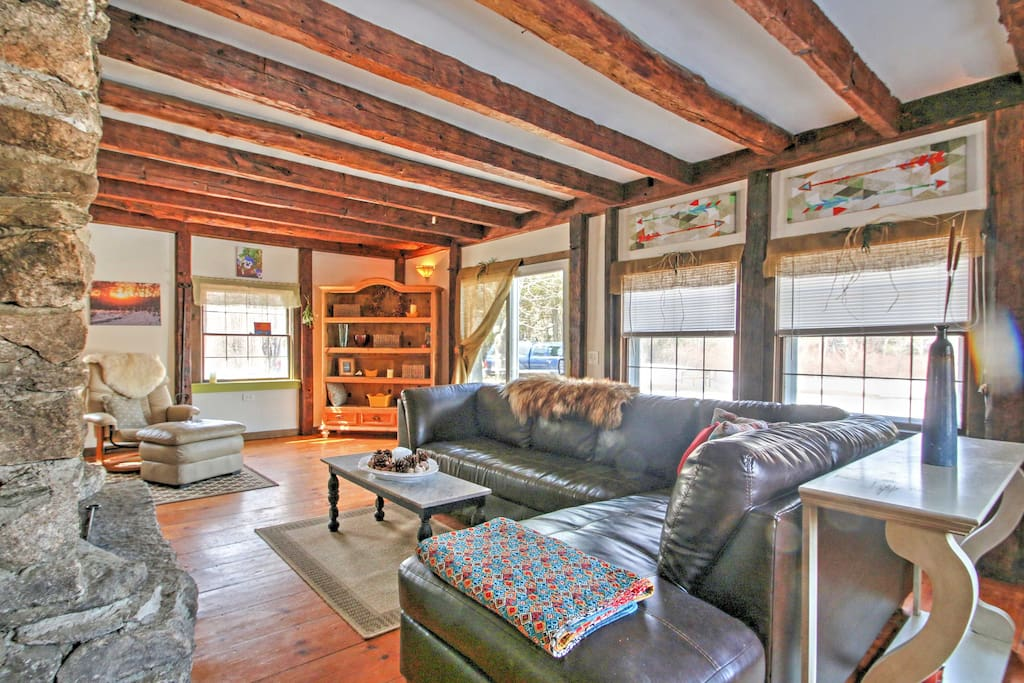 Relax in the cozy living room on the leather couches while you warm up in front of the fireplace.
