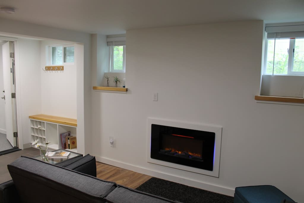 Electric Fireplace and Entryway