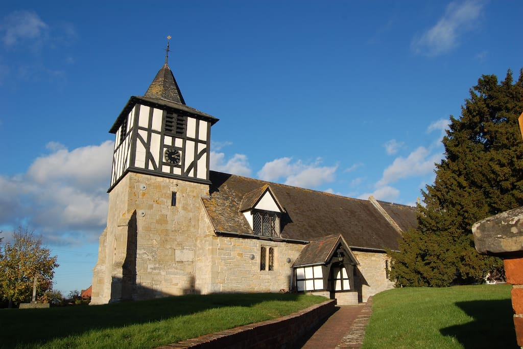 Picturesque historic church in Defford
