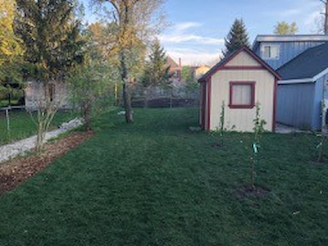 Large Backyard with fruit trees and organic garden