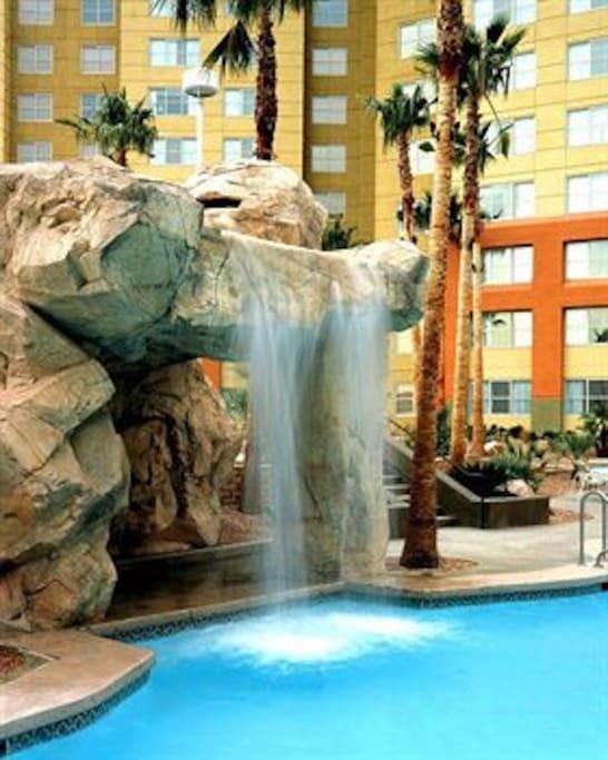 Waterfall in pool area.